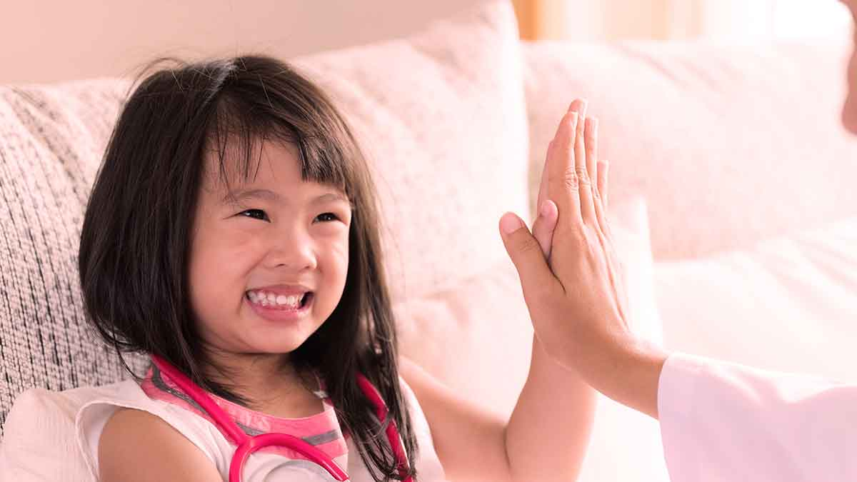 Girl gives High Five